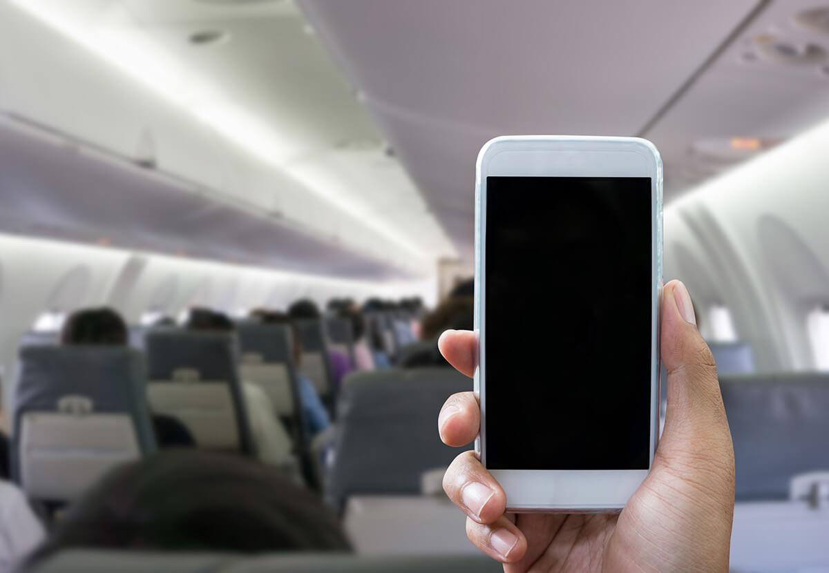 飛行機に乗る際は、機内モード設定を忘れずに!