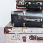 Travel background, a stack of old suitcases with Copy Space.
